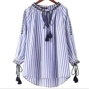 ZARA embroidered tassel boho stripe tunic blouse